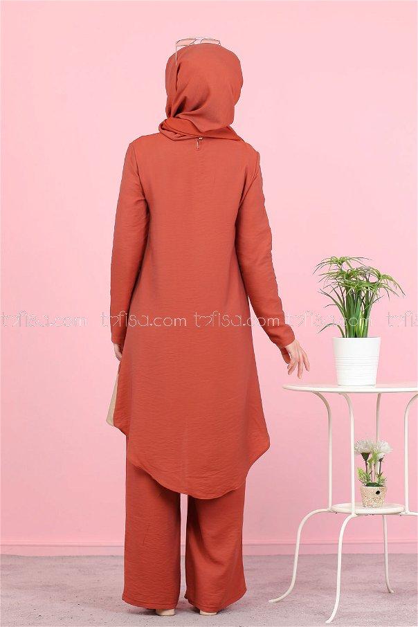 Tunik Pantolon Şal Taba - 3043