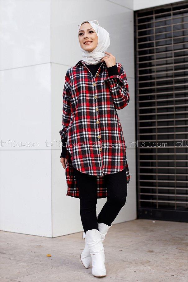 Tunik Siyah Kırmızı - 3298