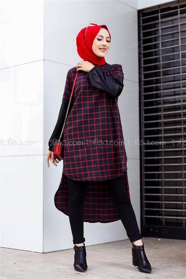 Tunik Siyah Kırmızı - 3305