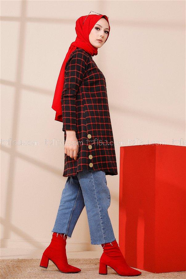 Tunik Siyah Kırmızı - 3306