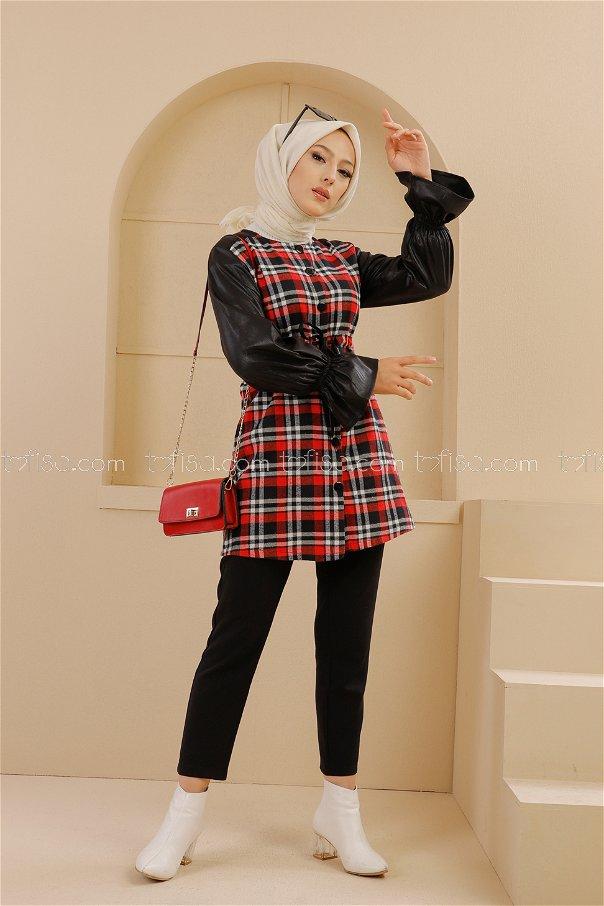 Tunik Siyah Kırmızı - 9104