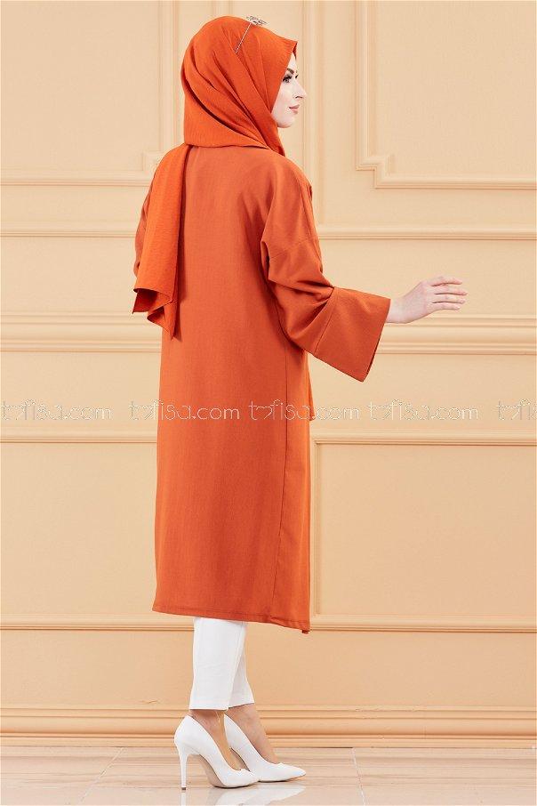Uzun Ceket KIREMIT - 3492