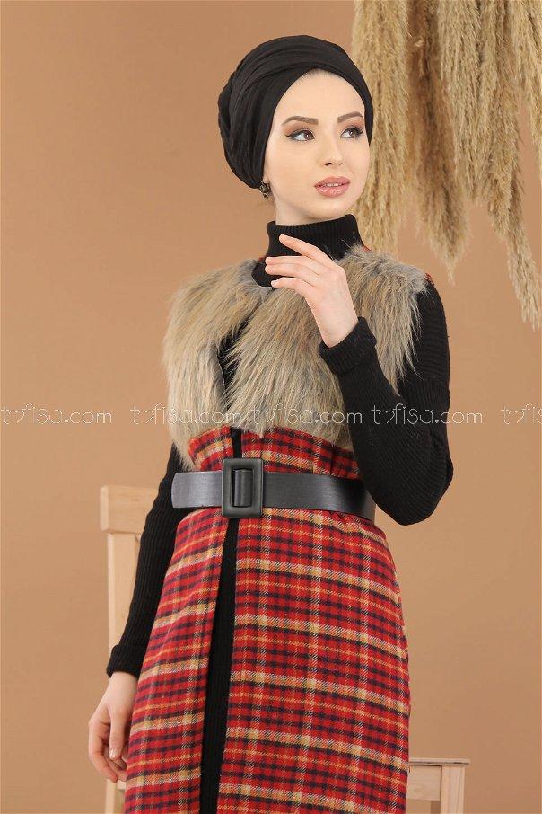 Vest Details Fur claret red - 8282