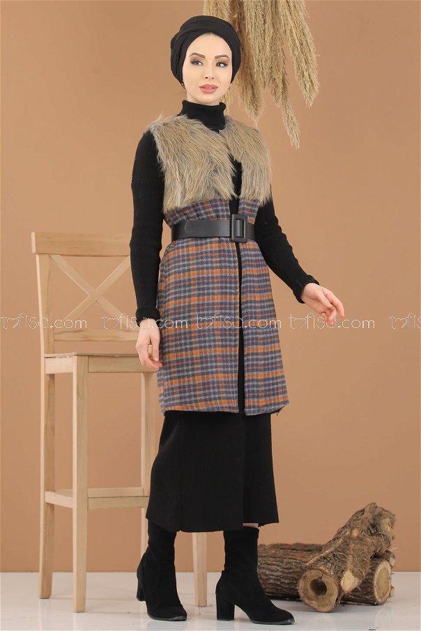 Vest Details Fur indigo - 8282