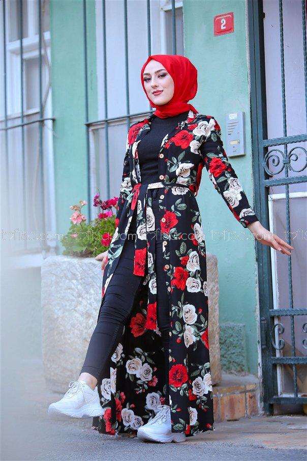 Viskon Elbise Siyah - 3015