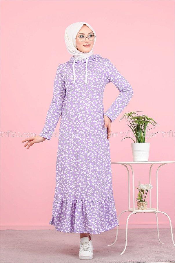 Volanlı Elbise Lila - 2805