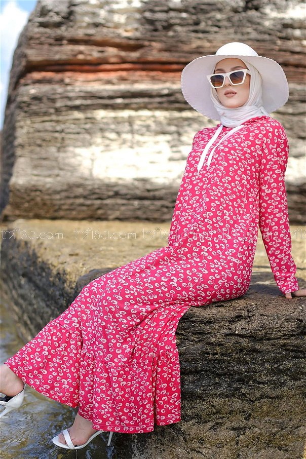 Volanlı Elbise Pembe - 2805