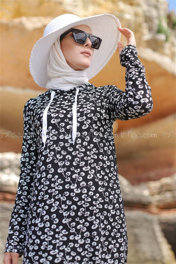 Volanlı Elbise Siyah - 2805