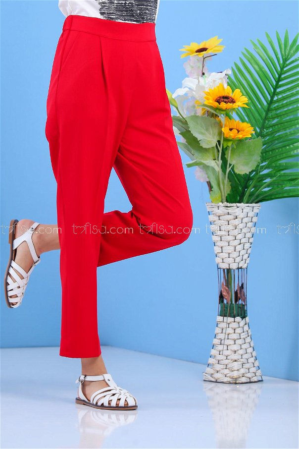 Waist Elastic Trousers Red - 02 7407