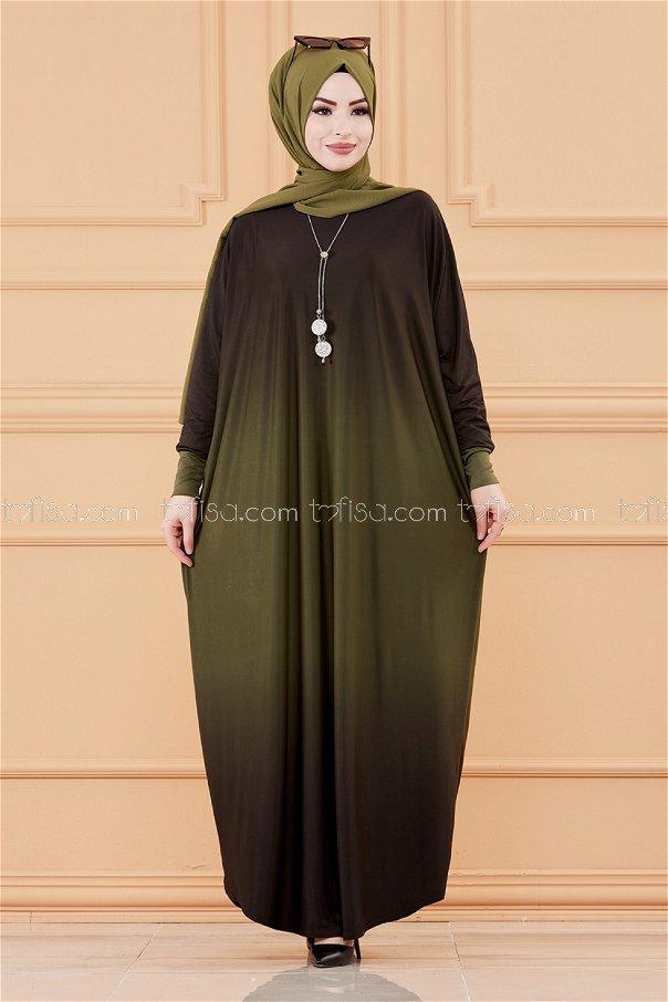 Yarasa Kol Elbise HAKI - 20034