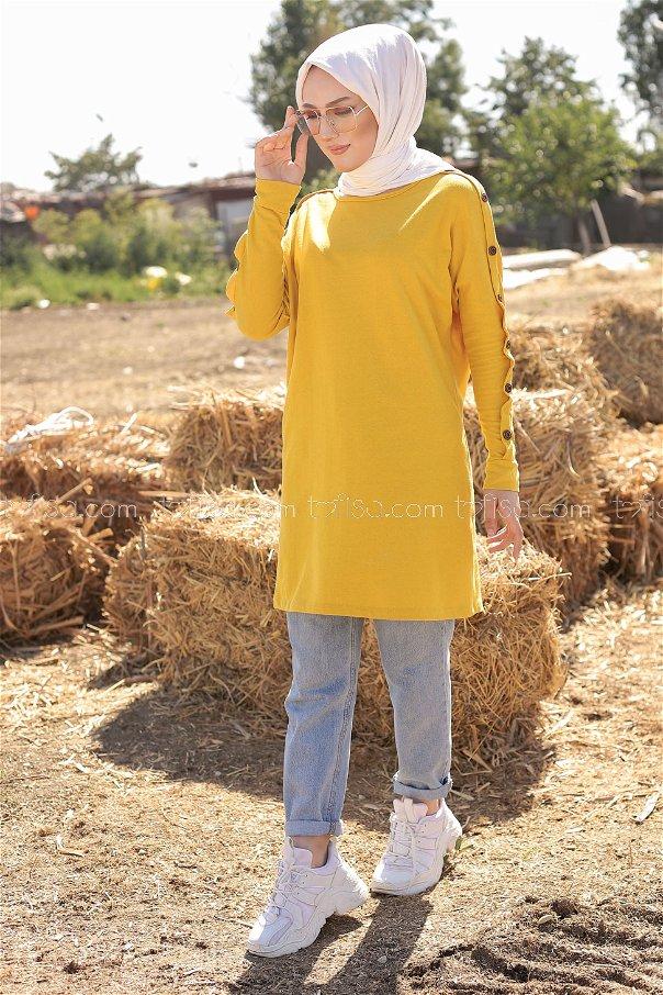 Dügme Detay Tunik Sarı - 2811