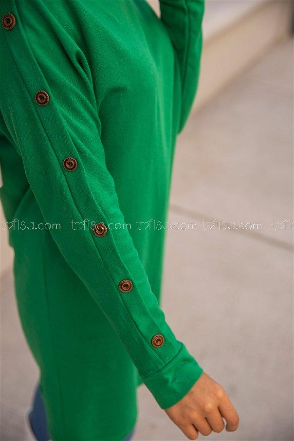 Dügme Detay Tunik Yeşil - 2811