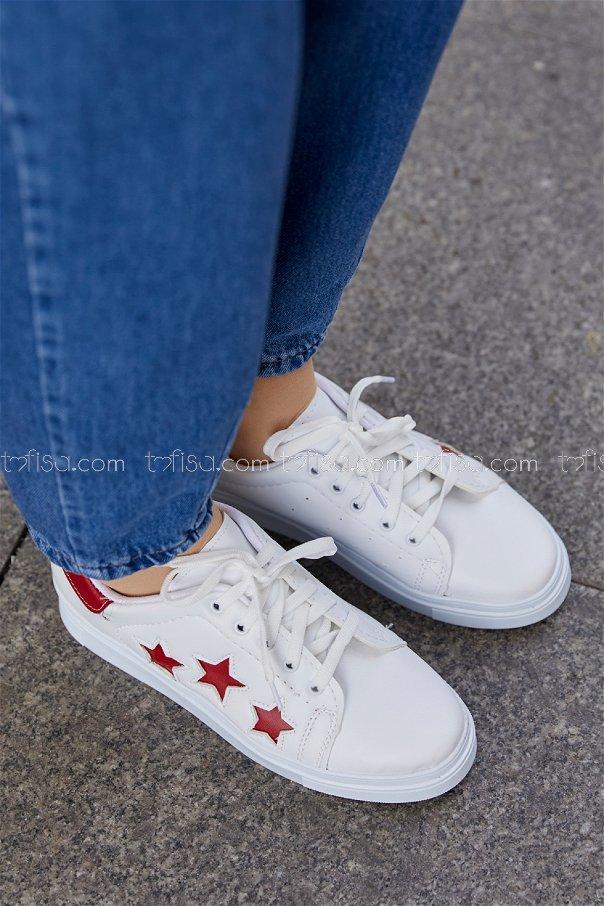 Yıldız Ayakkabı BEYAZ KIRMIZI - 20147
