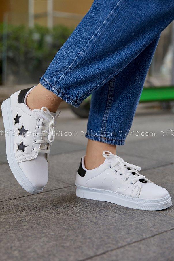 Yıldız Ayakkabı BEYAZ SIYAH - 20147