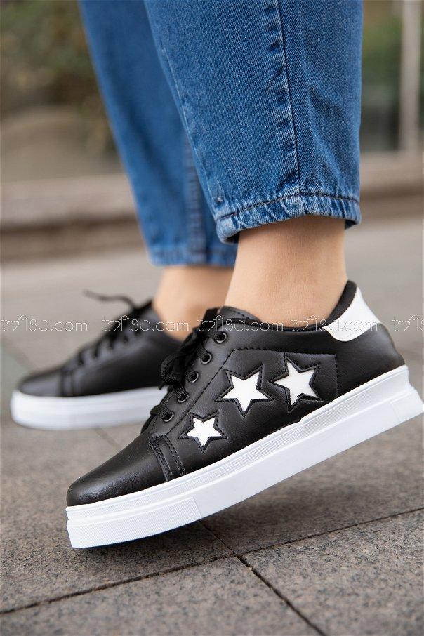 Yıldız Ayakkabı SIYAH BEYAZ - 20147
