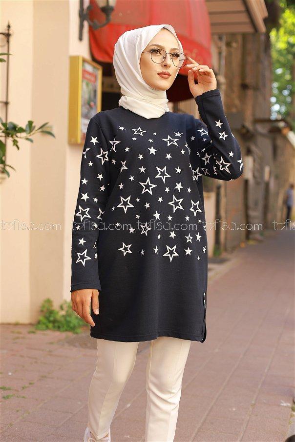 Yıldız Baskılı Tunik Lacivert - 8385