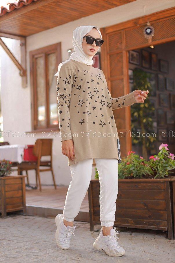 Yıldız Baskılı Tunik AçıkBej - 8385