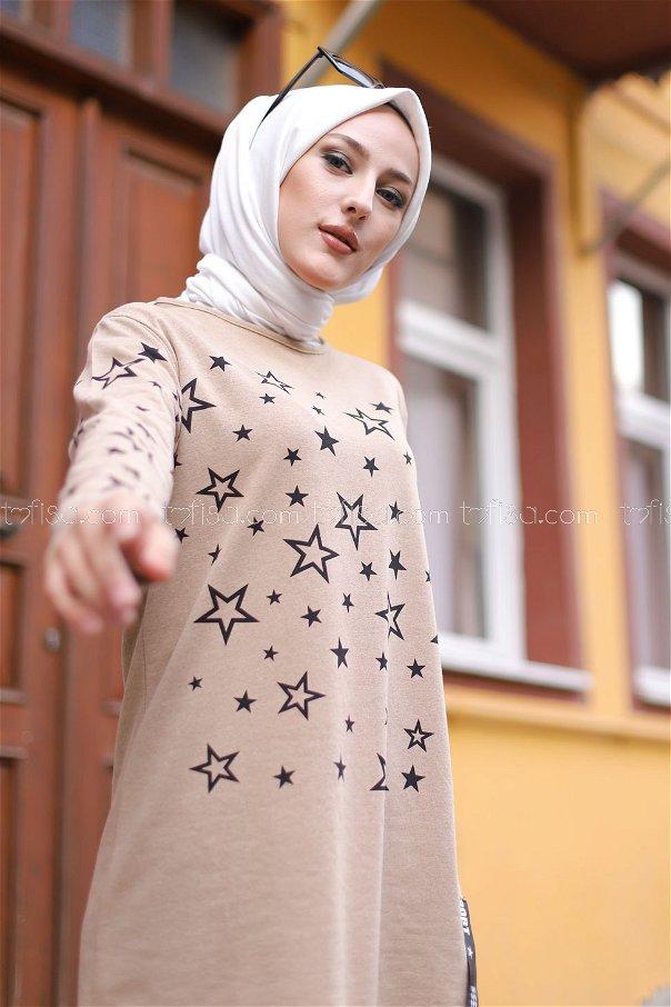 Yıldız Baskılı Tunik Bej - 8385