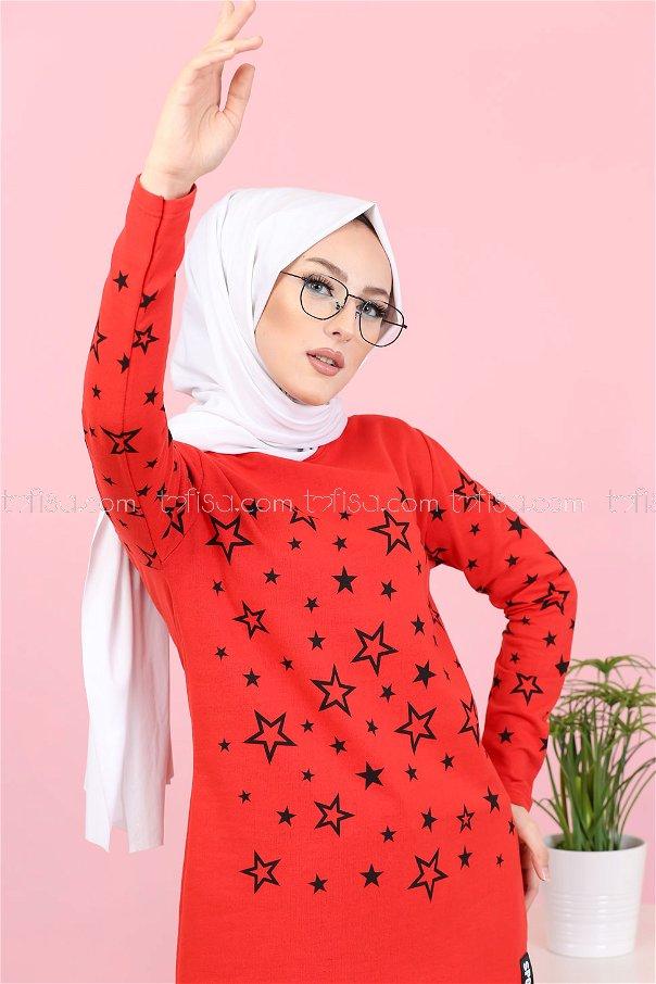 Yıldız Baskılı Tunik Kırmızı - 8385