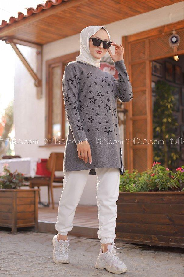 Yıldız Baskılı Tunik Koyu.Gri - 8385