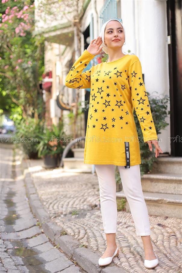 Yıldız Baskılı Tunik Sarı - 8385
