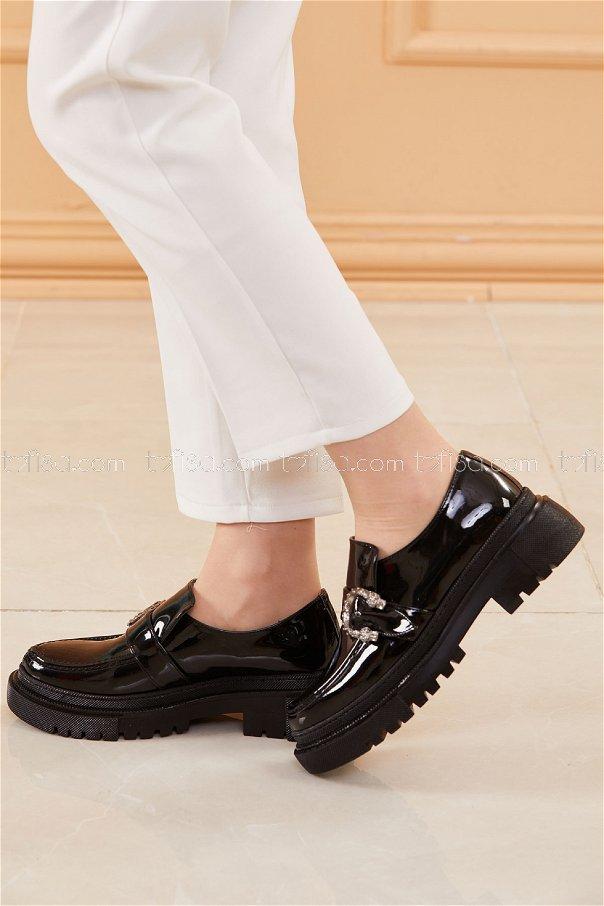 Yuksek Taban Parlak Ayakkabı PARLAK SIYAH - 20661