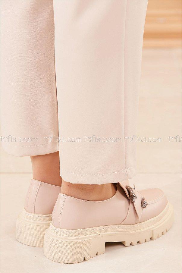 Yuksek Taban Parlak Ayakkabı PUDRA - 20661