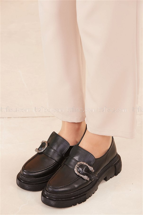 Yuksek Taban Parlak Ayakkabı SIYAH - 20661
