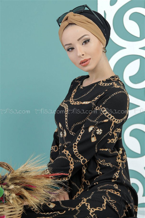 Zincir Desen Elbise Siyah - 02 7420