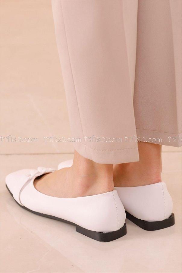 Zıncırlı Babet Ayakkabı BEYAZ - 20626