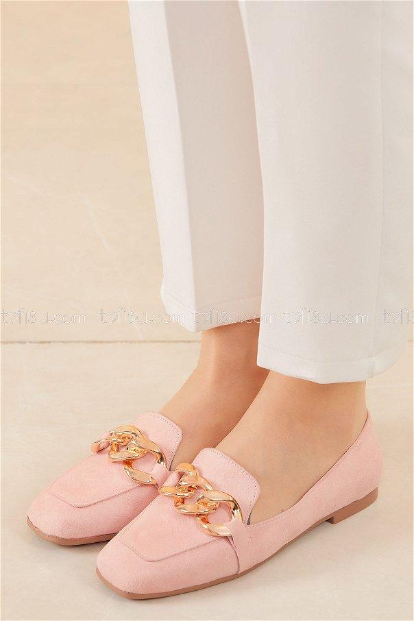 Zıncırlı Babet Ayakkabı PUDRA - 20590