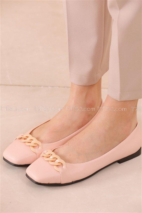 Zıncırlı Babet Ayakkabı PUDRA - 20626