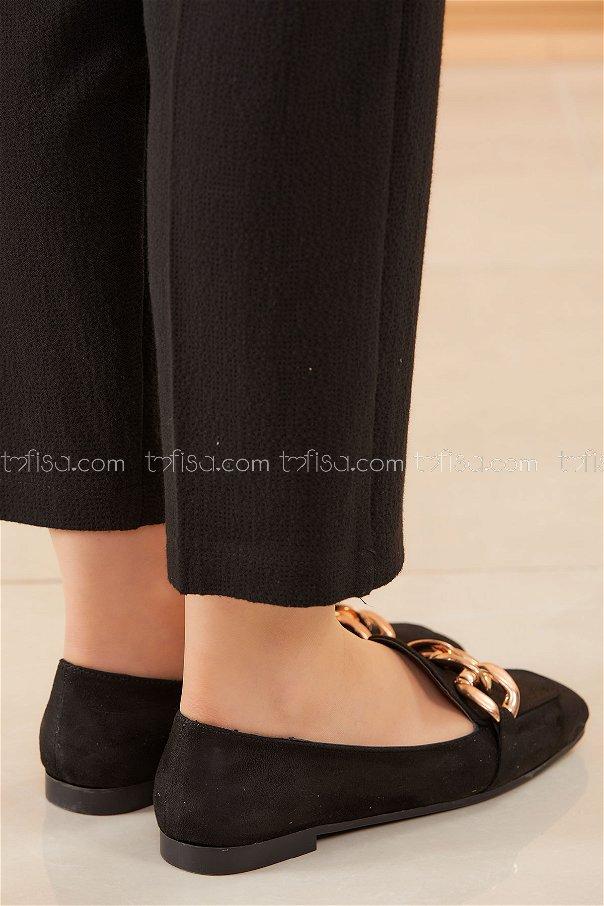 Zıncırlı Babet Ayakkabı SIYAH - 20590