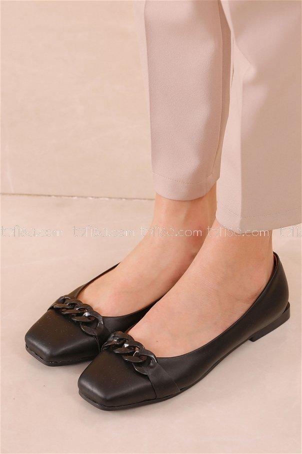 Zıncırlı Babet Ayakkabı SIYAH - 20626