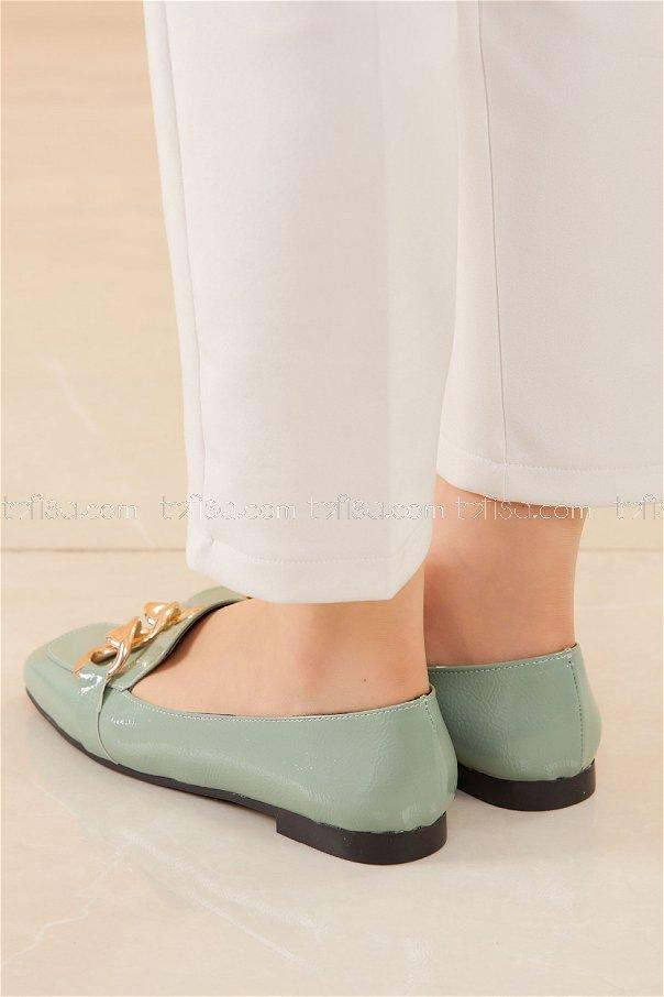 Zıncırlı Parlak Babet Ayakkabı FISTIK YESILI - 20588