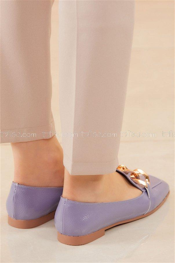 Zıncırlı Parlak Babet Ayakkabı LILA - 20588