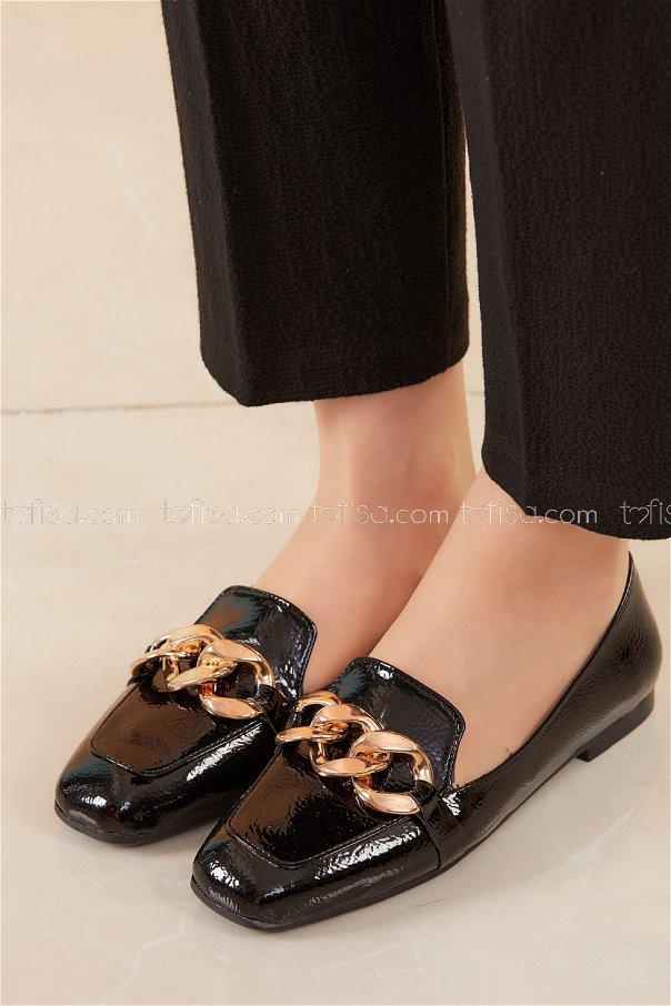 Zıncırlı Parlak Babet Ayakkabı SIYAH - 20588