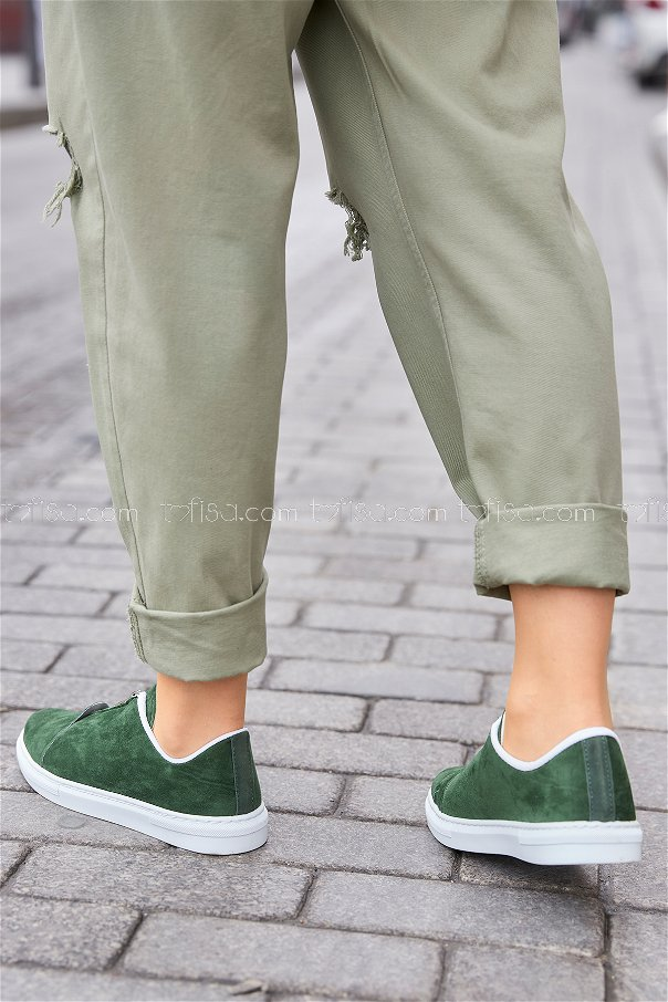 Zippered Sneakers Khaki - 8716