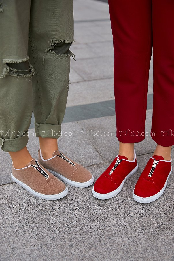 Zippered Sneakers Red - 8716